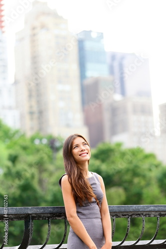 Businesswoman in New York Central Park
