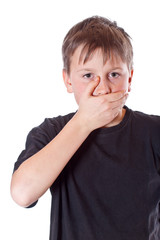 boy with a closed mouth