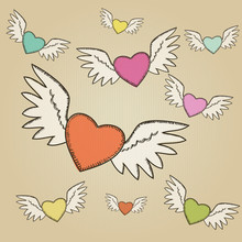 Vector set of hand-drawn colorful flying hearts
