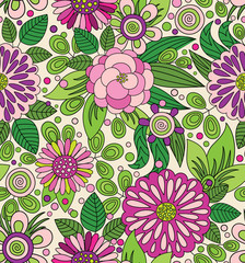 Decorative colourful picturesque seamless pattern