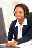 african american online support operator using computer