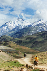 two motorcycle tourist in india mountains