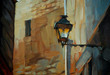 ancient lantern in Gothic quarter of Barcelona, painting,  illus