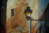 ancient lantern in Gothic quarter of Barcelona, painting,  illus