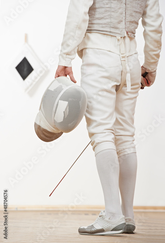 Fencer with mask rapier foil