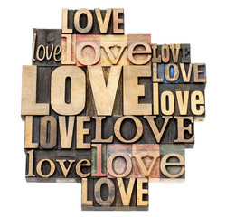love word in wood type