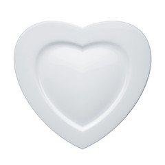 Heart form white plate isolated on white background