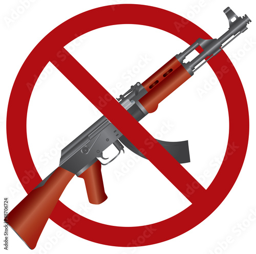 Assault Rifle AK 47 Gun Ban Illustration