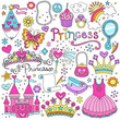 Princess Fairy tale Tiara Notebook Doodles Vector Set