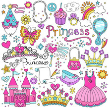 Princesse de conte de fées Tiara Notebook Doodles Vector Set