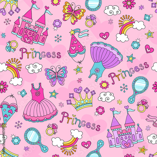 Princess Fairy Tale Tiara Seamless Pattern Vector Design