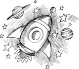 Cute Outer Space Rocket Sketch Vector poster