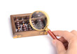 Chinese abacus and Magnifying glass,business concept