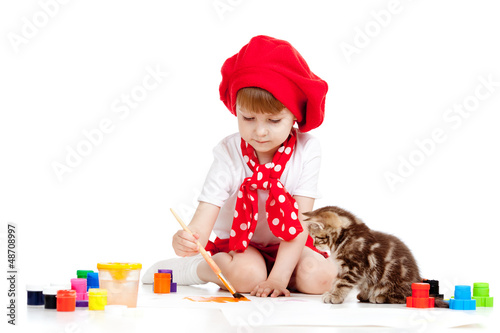 painting child girl with cat