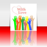 flyer or cover design with happy collaborating hands love heart poster