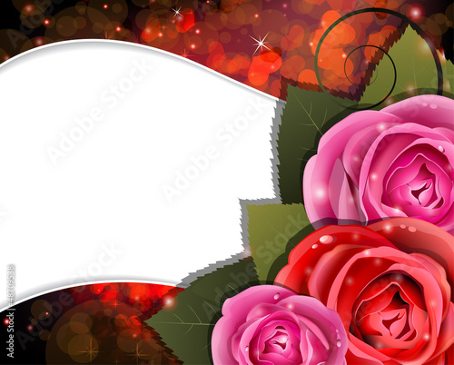 Roses on a red background. Valentines Day card