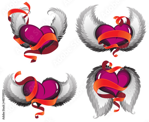 Valentine hearts with wings and ribbons