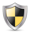Vector Protection Icon - Glossy Black and Yellow Shield