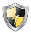 Vector Protection Icon - Glossy Black and Yellow Shield with Lig