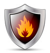 Shield with the sign of fire. Vector icon