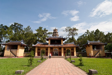view of courtyard Thien Mu pagoda in Hue, central Vietnam