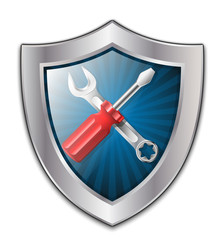 Vector service icon - shield with screwdriver and wrench