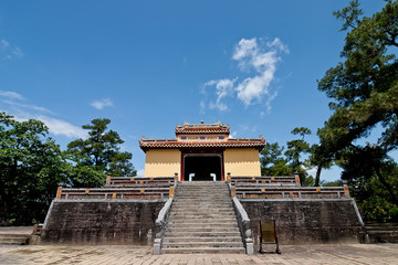 Beautiful architecture at the Hue Citadel in Vietnam