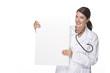Ärztin mit Werbetafel in der Hand