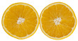 halved oranges on a white background