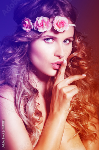 Colorful portrait of blond woman  . long hair
