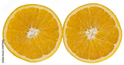 halved oranges on a white background