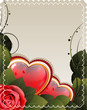 Valentines card with rose and hearts