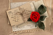 dry red rose and old love letters