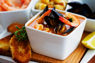 Mediterranean fish soup with mussels and shrimp