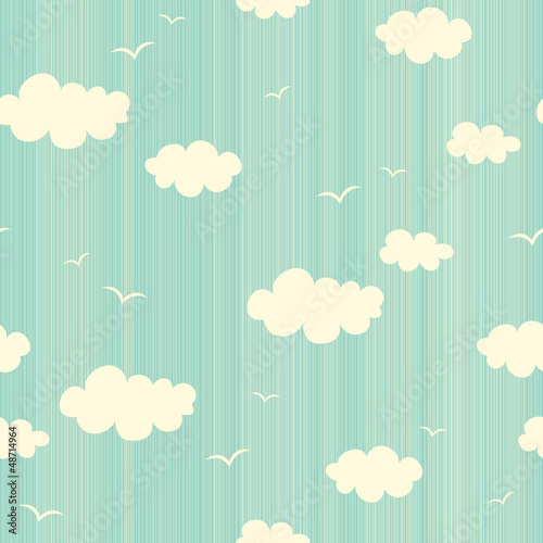 Fridge magnet seamless pattern with clouds and birds