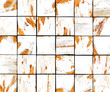 3d abstract graffiti white brush tile backdrop with orange