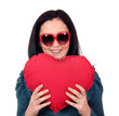 teenage girl with heart and sunglasses portrait