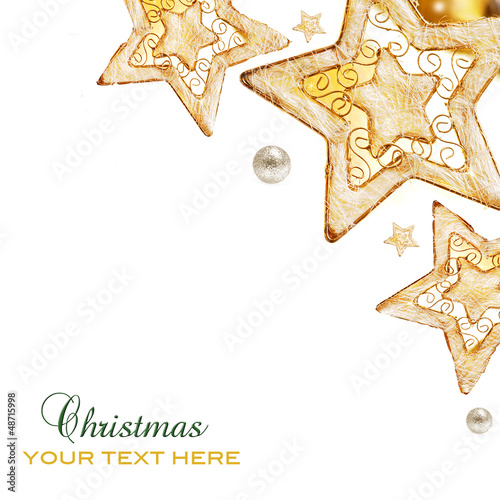 Golden stars, ornaments and holiday decorations