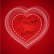 red valentine heart with i love you