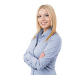 Portrait of young businesswoman isolated on white