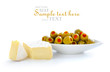 Green olives stuffed with pimento with the slices of cheese