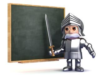 Knight is teaching at the blackboard