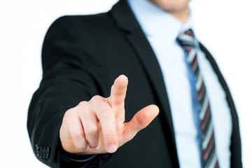businessmann zeigt mit den fingern