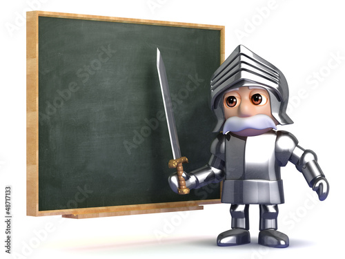 Knight is teaching at the blackboard