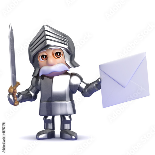 Knight has a letter in his hand