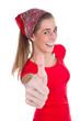 Funny girl - Frau mit Daumen hoch isoliert in Rot