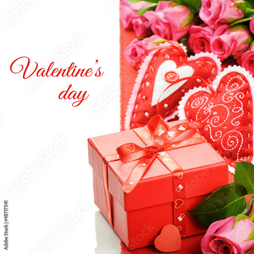 Valentine's gift box with pink roses