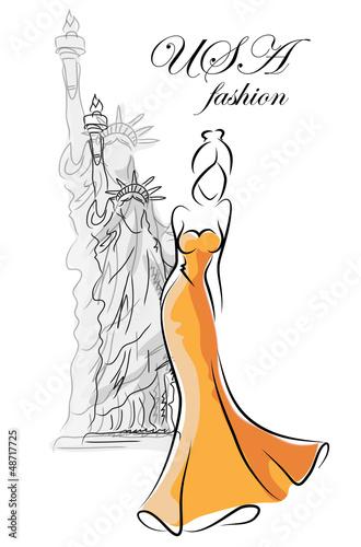 Постер, плакат: Мода женщина в США, холст на подрамнике