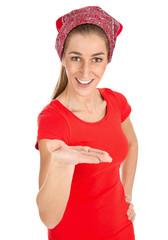 Eine Frau reicht die Hand - Rot isoliert