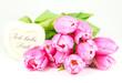 Liebeserklärung mit Herz und Tulpen